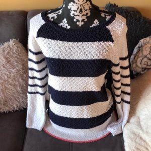 ANN TAYLOR LOFT Blue & White Sweater Size Small